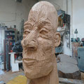 Face 1, made by chainsaw. High 1,20 meter, Oak Wood, 2019