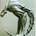 Basic model for a huge sculpture. Model in Acrylic resin. High 46 cm.2002