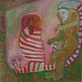 gestreiftes Sitzmöbel/Eitempera auf Leinwand / 40 x 40 cm