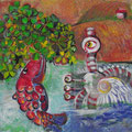 kleines toskanisches Seeungeheuer mit Glückskleefisch/ Eitempera auf Leinwand/40x40/2013