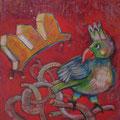 VogelsKrone/Eitempera auf Leinwand / 40 x 40 cm