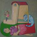 Zuhause/Eitempera auf Leinwand / 40 x 40 cm