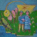Verlobung/ Eitempera auf Leinwand / 40 x 40 cm