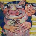 stolzer Matrose mit seinem fetten Sparschwein/Eitempera auf Leinwand / 40 x 40 cm