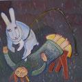 Übung mit dem Schneehasen/ Eitempera auf Leinwand / 40 x 40 cm