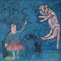 Sternbild Katze/Eitempera auf Leinwand / 40 x 40 cm