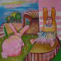 Gefahr der rosa Ohren/Eitempera auf Leinwand / 40 x 40 cm