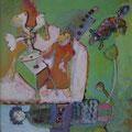 grüne Wiese/Eitempera auf Leinwand / 40 x 40 cm