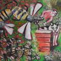 Ausflug der Bienen/ Eitempera auf Leinwand/40x40/2013