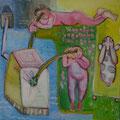 unter Beobachtung/Eitempera auf Leinwand / 40 x 40 cm