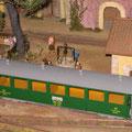 Bahnhof Saint-Paule der gleichnamigen Kleinstadt mit Personenwagen der Waldenburgerbahn (TS) gebaut nach einem Studer Modellbauplan.