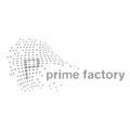 Logo von Prime Factory, einem Unternehmen, das zwischen Information und Informiertheit im Netz differenziert – infragrau, gute Gestaltung.