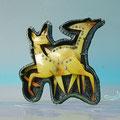 """2141067    Silber  patiniert   """" Art Deco Rehe"""":Vintage Zelluloid und Strass  11170 €"""