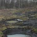 Dunkler Basaltgrus im Untergrund, Sickerwasser aus dem Hang (Bild: K. Weddeling)