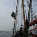 Arbeiten an Bord während des Törns nach Nysted