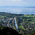 Prachtsaussicht zum Alten Rhein (CH-Grenze) und Bodensee