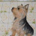愛犬ケンタロー、イタリアに行く(板絵)