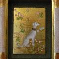 花園の白い犬(板絵)