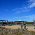 first flight der Gebrüder Wright, im Hintergrund der Kill Devil Hill