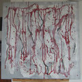 Acrylique, collage, sculpture sur toile 80x80 cm