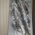 Acrylique, collage, sculpture sur toile 40x100 cm