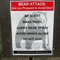 Allgegenwärtige Bärenwarnung
