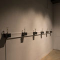 Fragments of Memories, 2013, Metal construction, motor, milk glasses, mini toys