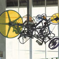 Track,  2004, metal constructions, motors, transparent resins, mixed media