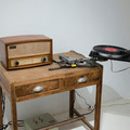 Just Say Again You Love Me, Please, 2013, Metal construction, motor, vintage turntable, vinyl and vintage amplifiers