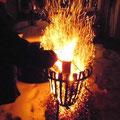 winterlicher Feuerkorb