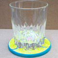 sous-verre/sous-tasse relief (acrylique & encre sur bois) @B.Dupuis