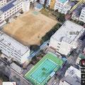 最近のGoogle画像で小学校全景(プールサイドは緑色)