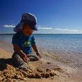 Kevin geniesst der schöne Strand