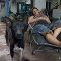 während die Männer arbeiten, ruht sich Nicky auf ihrem Stuhl aus... immer schön die Beine hoch wegen der Schwangerschaft..:-)