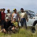 Fotoshooting auf dem Feld mit Landarbeitern