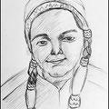 Bleistiftskizze als Vorzeichnung für ein Öl-Portrait/Mädchen im Karneval mit Indianerperücke