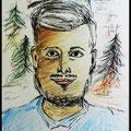 Portrait Fineliner und Polychromos/Wald und Mensch
