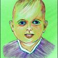 Portrait Pastellkreide Stifte auf grünem Karton.