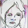 """Skizze vom lebenden Modell """"Die Leutchen"""" mit  Edding  und Aquarellfarbe"""