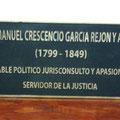 placa vaciada en bronce Manuel Crecencio Rejón y Alcalá