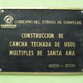 Placa en bronce Cancha techada Santa Ana