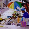 mercato africano 80 x 120 acrilico su tela -venduto-