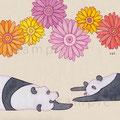 パンダとガーベラ