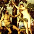 Adán y Eva .- Tiziano -.