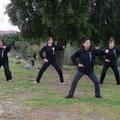 Alumnos practicando Chan si Gong - Retiro Taijiquan Cxwta-Chile San Miguel