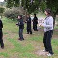 Alumnos practicando Zhanzhuang - Retiro Taijiquan Cxwta-Chile San Miguel