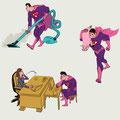 Vignetten-Illustrationen - Thema: Die neue Rolle des Mannes - Magazin: Fokus