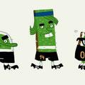 Illustrationen zu Maskottchen Mannschaft für das Rasenteam zur WM 2010 - Kunde: Lidl