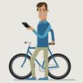 Vector-Illustration für Internetportal - Kunde: Gute Frage - Motiv: Mann mit Fixie-Bike und Smartphone