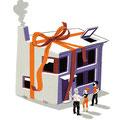 Vignetten-Illustration für das Magazin Finanztest (Stiftung Warentest) - Thema: Immobilien vererben / Schenkung